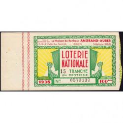 1938 - Loterie Nationale - 15e tranche - 1/100ème - Maison du Bonheur - Etat : SUP