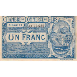 Auch (Gers) - Pirot 15-7 - Série H - 1 franc - 1914 - Etat : TTB
