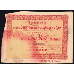 1902 - Loterie - Construction d'un Musée à Gap - 1 franc - Etat : B