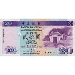 Chine - Macau - Pick 91 - 20 patacas - 01/09/1996 - Etat : TTB