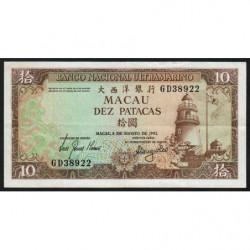Chine - Macau - Pick 59b_3 - 10 patacas - 08/08/1981 - Etat : TTB+