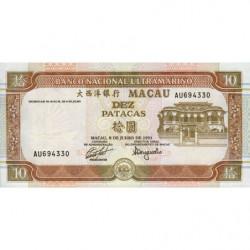 Chine - Macau - Pick 65 - 10 patacas - 08/07/1991 - Etat : NEUF