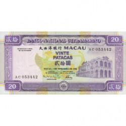 Chine - Macau - Pick 66 - 20 patacas - 01/09/1996 - Etat : NEUF