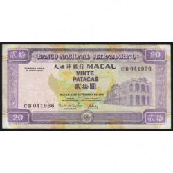 Chine - Macau - Pick 66 - 20 patacas - 01/09/1996 - Etat : TTB
