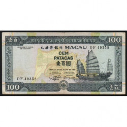 Chine - Macau - Pick 68 - 100 patacas - 13/07/1992 - Etat : TTB