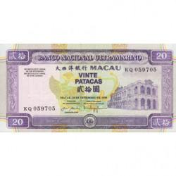 Chine - Macau - Pick 71 - 20 patacas - 20/12/1999 - Etat : NEUF