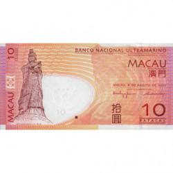 Chine - Macau - Pick 80a - 10 patacas - 08/08/2005 (2006) - Etat : NEUF