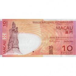 Chine - Macau - Pick 80b - 10 patacas - 08/08/2010 - Etat : NEUF