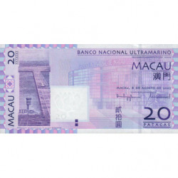 Chine - Macau - Pick 81a - 20 patacas - 08/08/2005 - Etat : NEUF