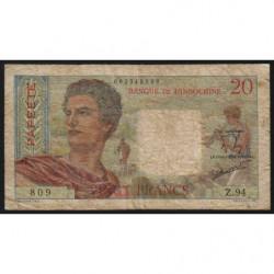 Tahiti - Papeete - Pick 21c - 20 francs - 1962 - Etat : B