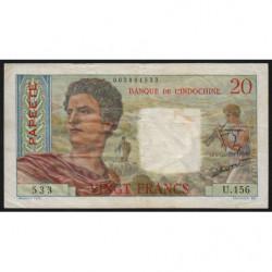 Tahiti - Papeete - Pick 21c - 20 francs - 1962 - Etat : TB+