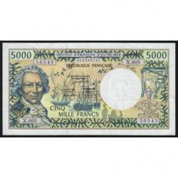 Territoire Français du Pacifique - Pick 3a - 5'000 francs - Série X.005 - 1992 - Etat : TTB-