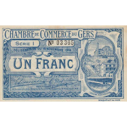 Auch (Gers) - Pirot 15-7 variété - 1 franc - Série I - 18/11/1914 - Etat : SUP
