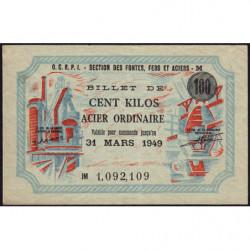 100 kg acier ordinaire - 31/03/1949 - Endossé à Saint-Etienne (42) - Série JM - Etat : SUP