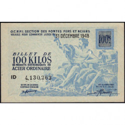 100 kg acier ordinaire - 31/12/1948 - Endossé à Saint-Etienne (42) - Série ID - Etat : SPL