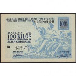 100 kg acier ordinaire - 31/12/1948 - Endossé à Saint-Etienne (42) - Série ID - Etat : SUP