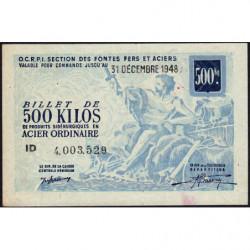 500 kg acier ordinaire - 31-12-1948 - Endossé à Saint-Etienne (42) - Etat : TTB+