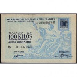 100 kg acier ordinaire - 30-09-1948 - Endossé - Etat : TTB+