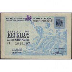100 kg acier ordinaire - 30-09-1948 - Endossé à Saint-Etienne (42) - Etat : TTB