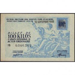 100 kg acier ordinaire - 30-09-1948 - Endossé - Etat : SPL