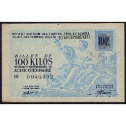 100 kg acier ordinaire - 30/09/1948 - Endossé à Saint-Etienne (42) - Série IS - Etat : SUP+