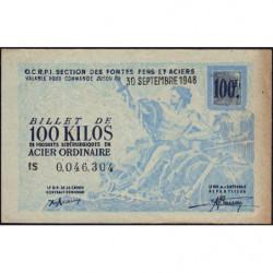 100 kg acier ordinaire - 30/09/1948 - Endossé à Saint-Etienne (42) - Série IS - Etat : TB+
