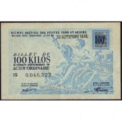 100 kg acier ordinaire - 30-09-1948 - Endossé - Etat : TTB