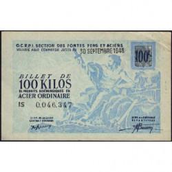 100 kg acier ordinaire - 30/09/1948 - Endossé à Saint-Etienne (42) - Série IS - Etat : SUP