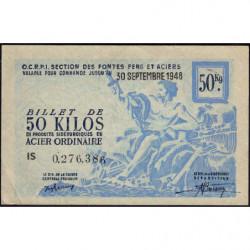 50 kg acier ordinaire - 30-09-1948 - Endossé - Etat : SUP