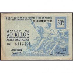 50 kg acier ordinaire - 31-12-1948 - Endossé à Saint-Etienne (42) - Etat : TB+