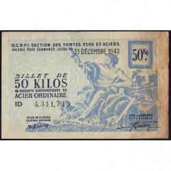 50 kg acier ordinaire - 31-12-1948 - Endossé - Etat : B+