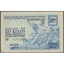 50 kg acier ordinaire - 31-12-1948 - Endossé à Saint-Etienne (42) - Etat : SUP+