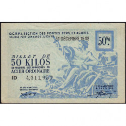 50 kg acier ordinaire - 31-12-1948 - Endossé à Saint-Héand (42) - Etat : SUP+
