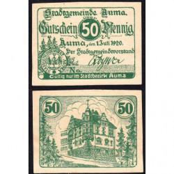 Allemagne - Notgeld - Auma - 50 pfennig - 13/07/1920 - Etat : NEUF