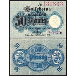 Allemagne - Notgeld- Bamberg - 50 pfennig - 1918 - Etat : TTB+