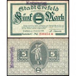 Allemagne - Notgeld- Crefeld - 5 mark - 21/10/1918 - Etat : SUP+