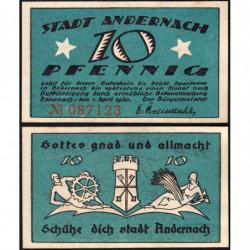 Allemagne - Notgeld- Andernach - 10 pfennig - 01/04/1920 - Etat : TTB