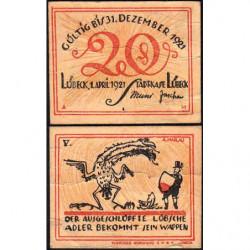Allemagne - Notgeld- Lübeck - 20 pfennig - 01/04/1921 - Etat : TB+