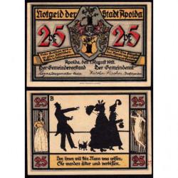 Allemagne - Notgeld - Apolda - 25 pfennig - Série B - 01/08/1921 - Etat : SPL