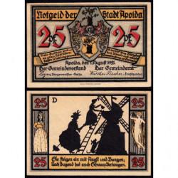Allemagne - Notgeld - Apolda - 25 pfennig - Série D - 01/08/1921 - Etat : SPL