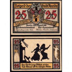 Allemagne - Notgeld - Apolda - 25 pfennig - Série E - 01/08/1921 - Etat : SPL