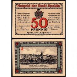 Allemagne - Notgeld - Apolda - 50 pfennig - Série A - 01/08/1921 - Etat : SUP