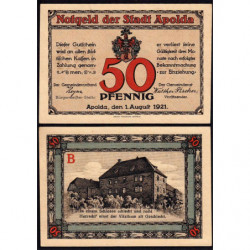 Allemagne - Notgeld - Apolda - 50 pfennig - 01/08/1921 - Etat : SUP