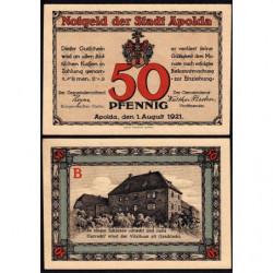 Allemagne - Notgeld - Apolda - 50 pfennig - Série B - 01/08/1921 - Etat : SUP