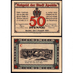 Allemagne - Notgeld - Apolda - 50 pfennig - Série C - 01/08/1921 - Etat : SUP