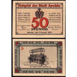 Allemagne - Notgeld - Apolda - 50 pfennig - Série D - 01/08/1921 - Etat : SUP