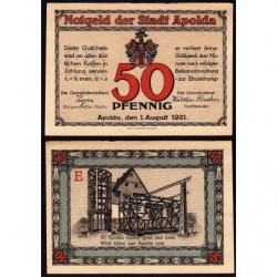Allemagne - Notgeld - Apolda - 50 pfennig - Série E - 01/08/1921 - Etat : SUP