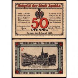 Allemagne - Notgeld - Apolda - 50 pfennig - Série F - 01/08/1921 - Etat : SUP