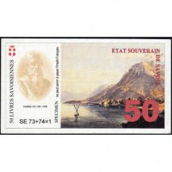 Billet savoisien - 50 Livres savoisiennes - 1998 - 1ère émission - Type a - Etat : NEUF