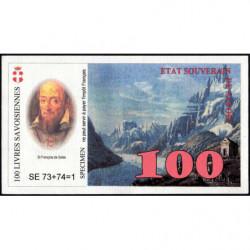 Billet savoisien - 100 Livres savoisiennes - 1998 - 1ère émission - Etat : NEUF